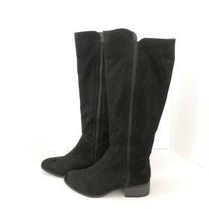 Merona black faux suede knee-high tall boots sz 9
